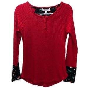 Pink Rose Lounge Red Waffle Thermal Top Size M